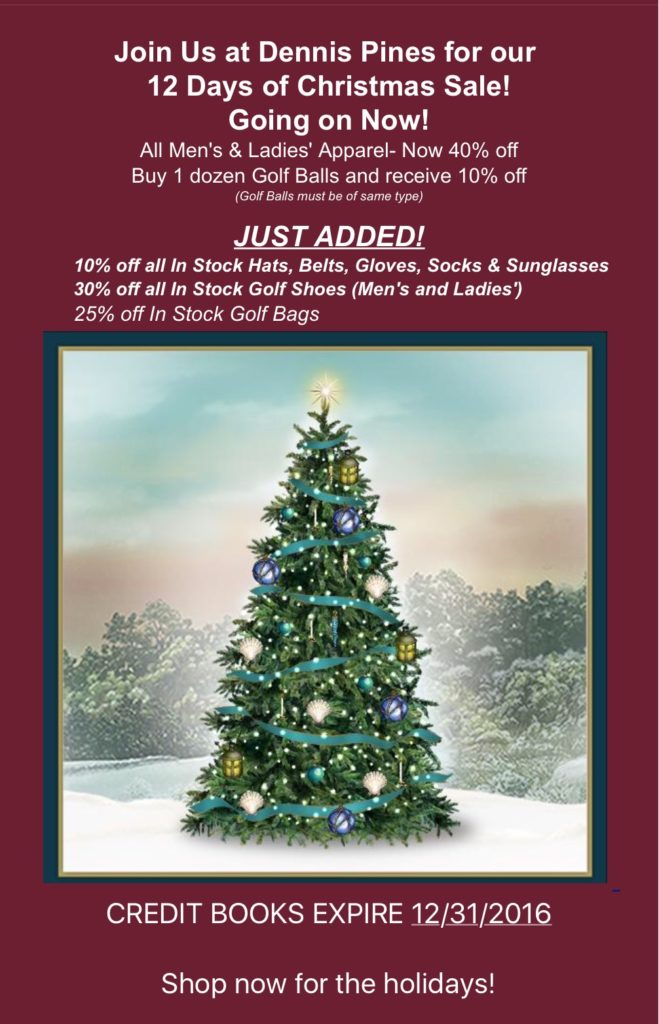Dennis Golf 12 Days of Christmas Sale!